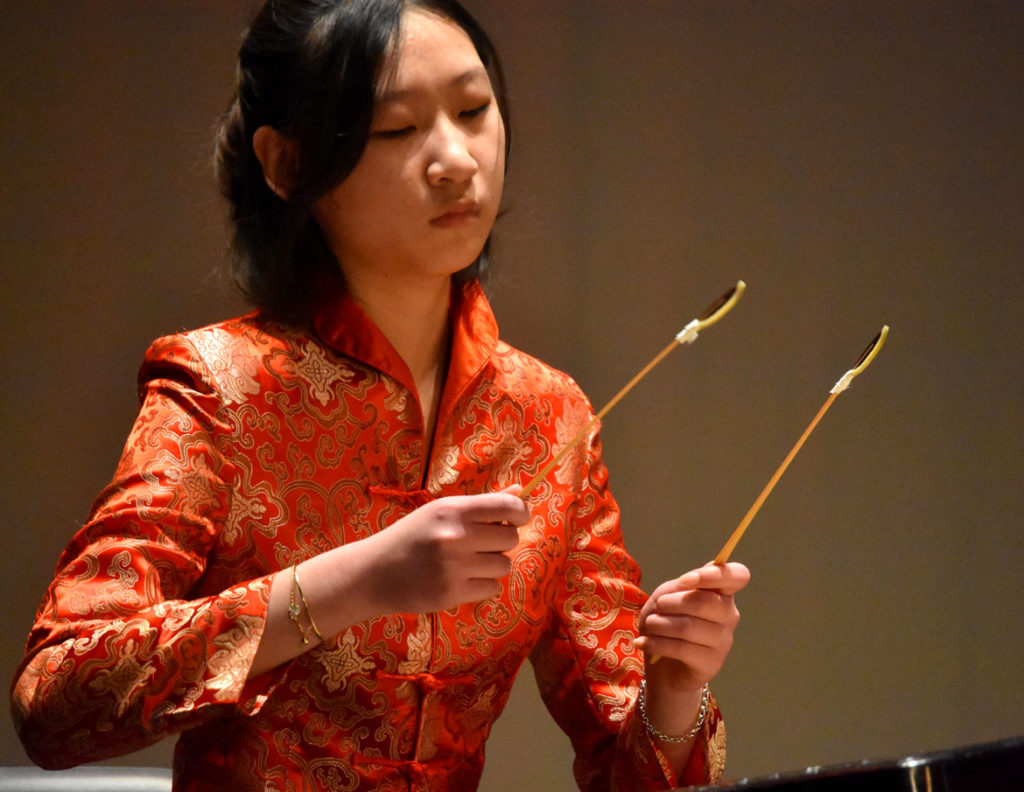 "Kate Hui played ""Red Lillies Crimson and Bright"" on dulcimer at Chinese Culture Connection's annual Lunar New Year Celebration at Malden High School, Jan. 18, 2020. (Greg Cook photo)"