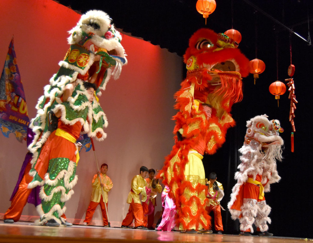 Wah Lum Kung Fu and Tai Chi Academy performed a lion dance at Chinese Culture Connection's annual Lunar New Year Celebration at Malden High School, Jan. 18, 2020. (Greg Cook photo)