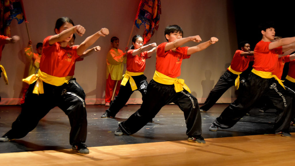 Wah Lum Kung Fu and Tai Chi Academy demonstrated kung fu at Chinese Culture Connection's annual Lunar New Year Celebration at Malden High School, Jan. 18, 2020. (Greg Cook photo)