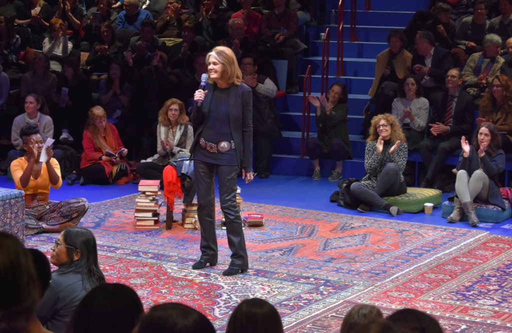 "Gloria Steinem takes the stage at the conclusion of the opening night performance of ""Gloria: A Life"" at American Repertory Theater, Cambridge, Jan. 30, 2020. (© Greg Cook photo)"