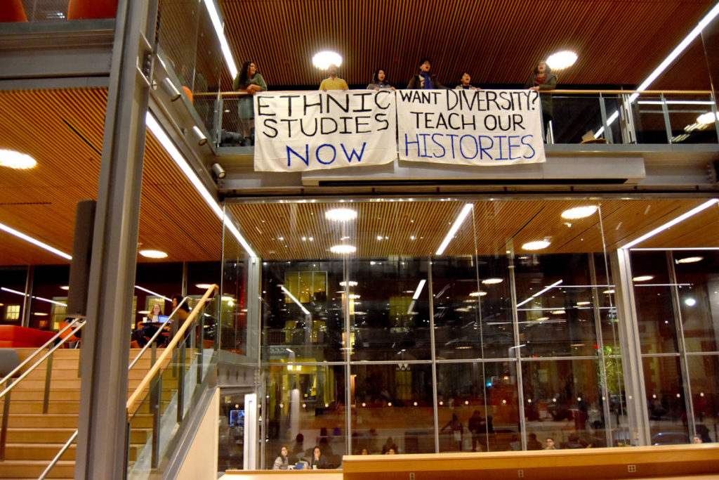 "Protesters demand ""Ethnic Studies Now"" and ""Want Diversity? Teach Our Histories"" at Harvard's Smith Campus Center, Cambridge, Jan. 30, 2020. (©Greg Cook photo)"