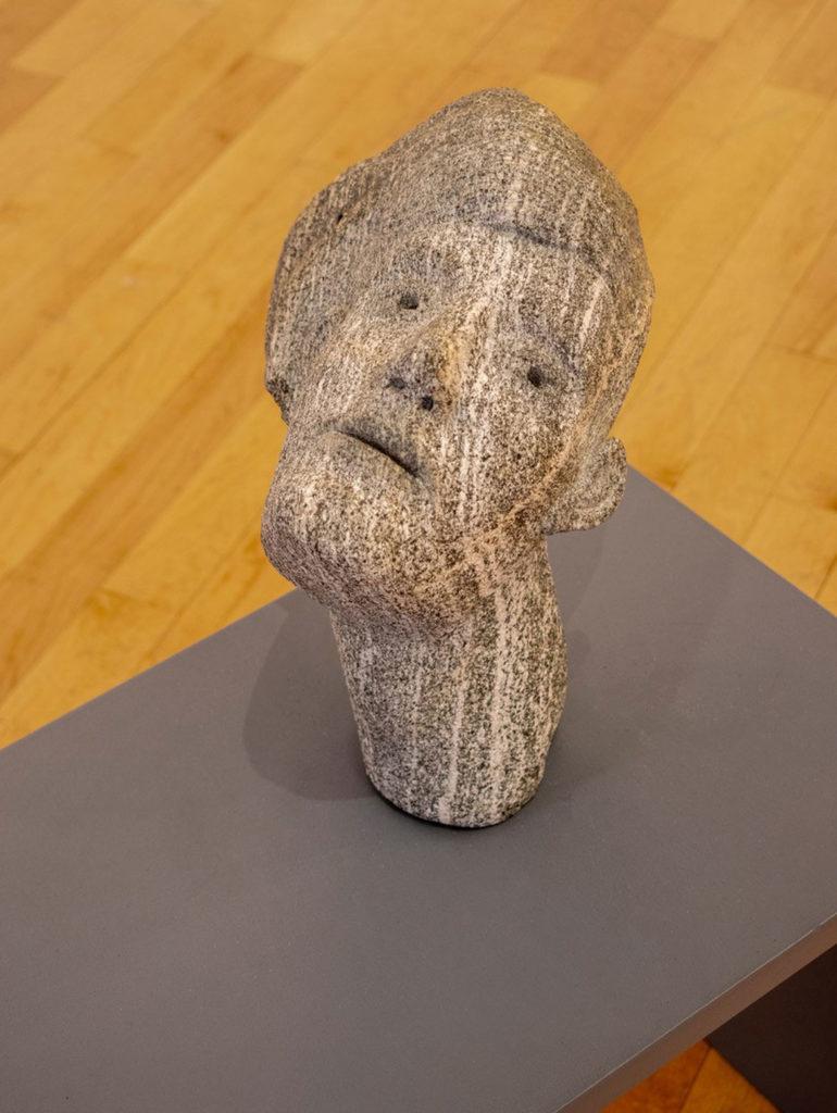 "Joseph Wheelwright, ""Lady with pompadour hair,"" c. 2015, carved stone. (Gallery Kayafas, Boston)"