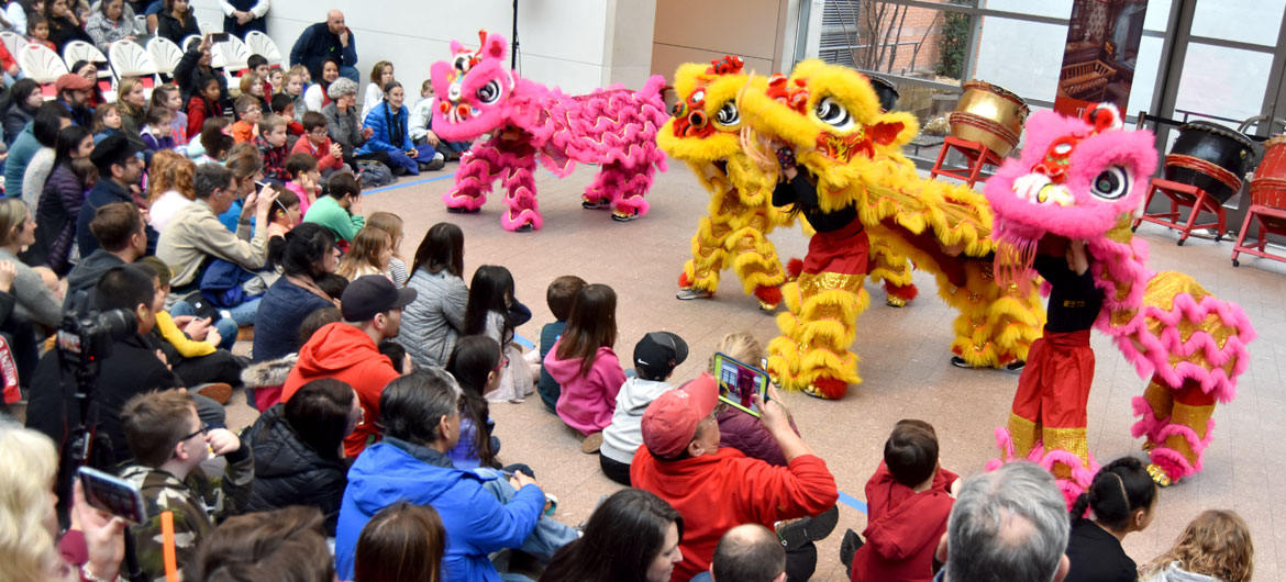 Gund Kwok Asian Women's Lion Dance Troupe's Cubs performed at the Lunar New Year Festival at Salem's Peabody Essex Museum, Jan. 25, 2020. (Greg Cook)