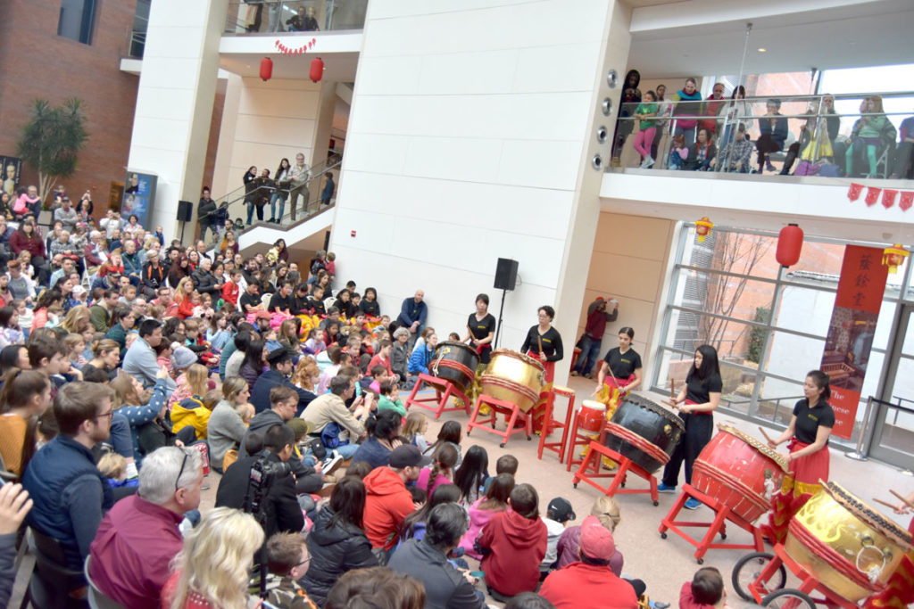 Gund Kwok Asian Women's Lion Dance Troupe drummers performed at the Lunar New Year Festival at Salem's Peabody Essex Museum, Jan. 25, 2020. (Greg Cook)