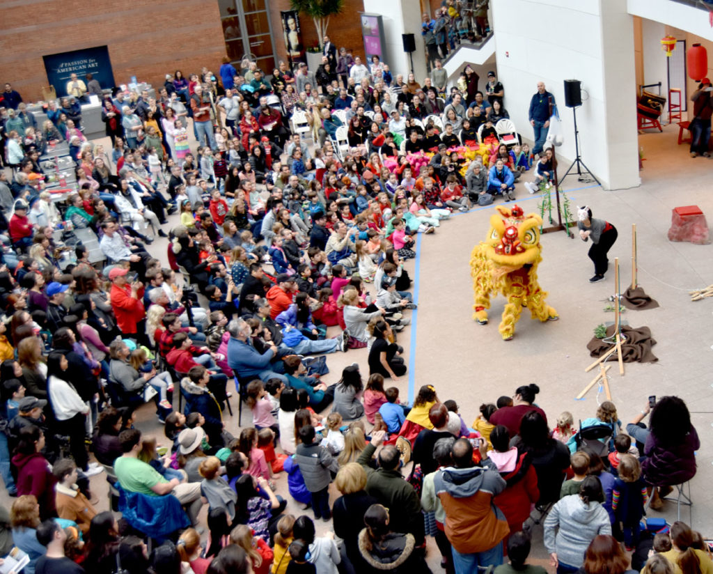 Gund Kwok Asian Women's Lion Dance Troupe performed at the Lunar New Year Festival at Salem's Peabody Essex Museum, Jan. 25, 2020. (Greg Cook)