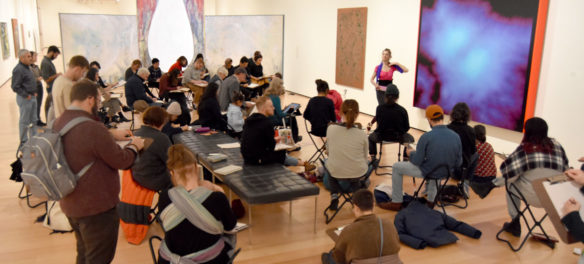 """Drawing in the Galleries"" program at the Museum of Fine Arts, Boston, Jan. 15, 2020. (Greg Cook photo)"