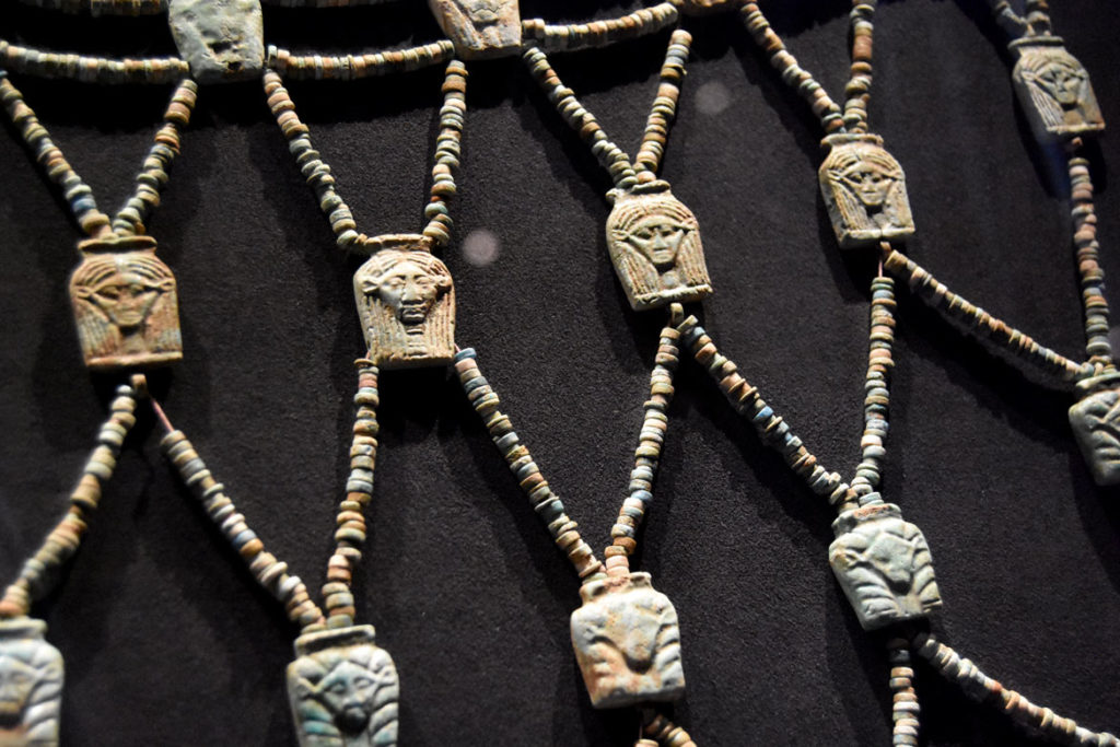 """Strings of beads that adorned horses of King Shabaka, Napatan period, reigned 712-698 BCE. From """"Ancient Nubia Now"""" at Boston's Museum of Fine Arts, Jan. 15, 2020. (Greg Cook photo)"""
