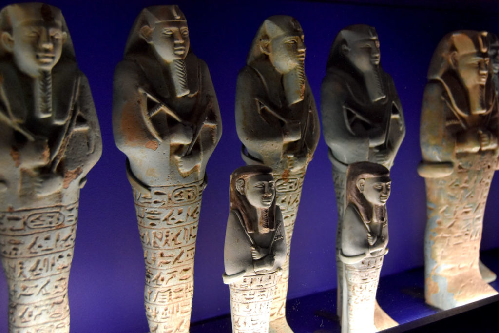 """Royal Shawabites, a funerary practice adopted from the Egyptians. They were placed standing against the walls of the burial chamber, surrounding the coffin. From """"Ancient Nubia Now"""" at Boston's Museum of Fine Arts, Jan. 15, 2020. (Greg Cook photo)"""