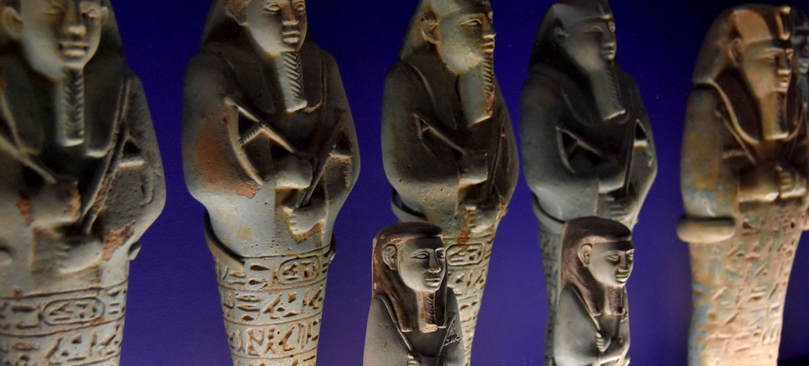"Royal Shawabites, a funerary practice adopted from the Egyptians. They were placed standing against the walls of the burial chamber, surrounding the coffin. From ""Ancient Nubia Now"" at Boston's Museum of Fine Arts, Jan. 15, 2020. (Greg Cook photo)"