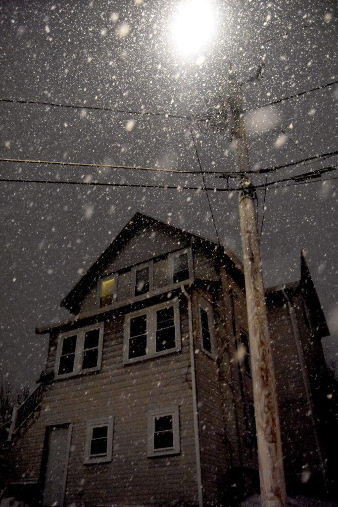 Snow in Malden, Massachusetts, Dec. 18, 2020. (Greg Cook photo)