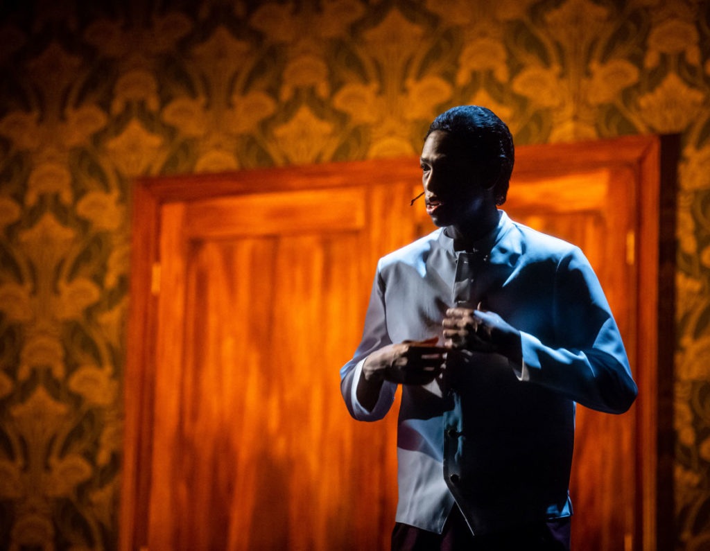 """Eric Berryman as Detroit Red (Malcolm X's 1940's nickname) in """"Detroit Red"""" at ArtsEmerson, 2020. (Randall Garnick Photography)"""