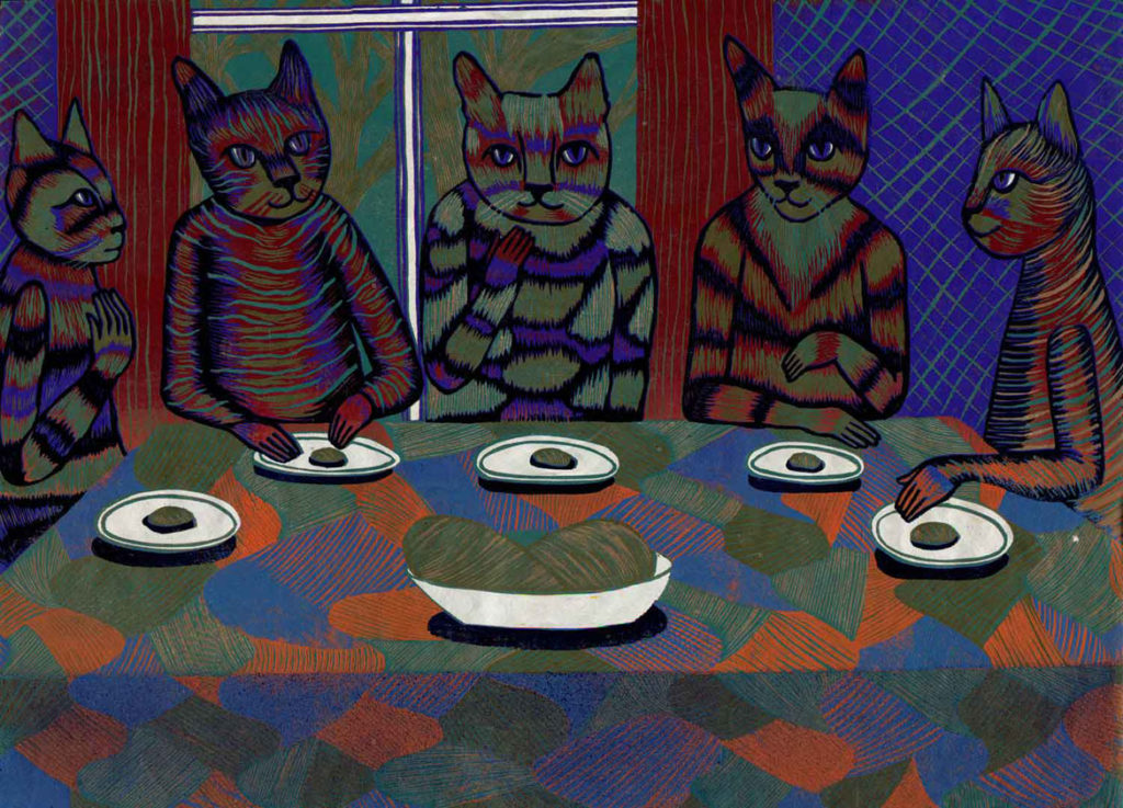 """Meredith Stern, """"Communal Dinner"""" relief print from her """"Cooperation Cats"""" series."""