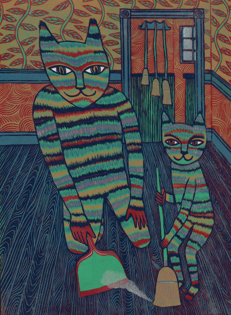 """Meredith Stern, """"Dynamic Dusting"""" relief print from her """"Cooperation Cats"""" series."""
