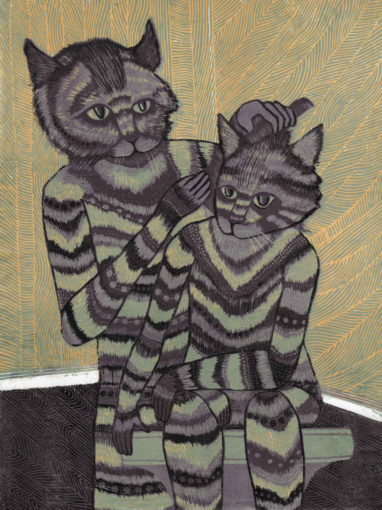 """Meredith Stern, """"Home Groom"""" relief print from her """"Cooperation Cats"""" series."""