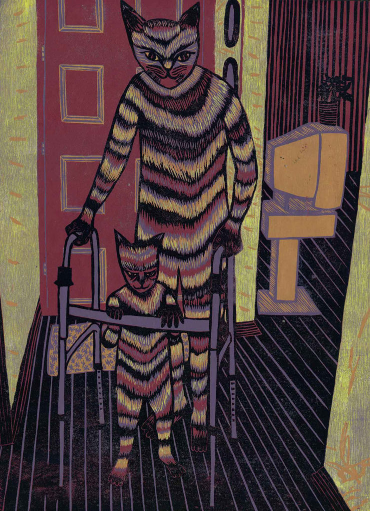 """Meredith Stern, """"Intergenerational Stroll"""" relief print from her """"Cooperation Cats"""" series."""