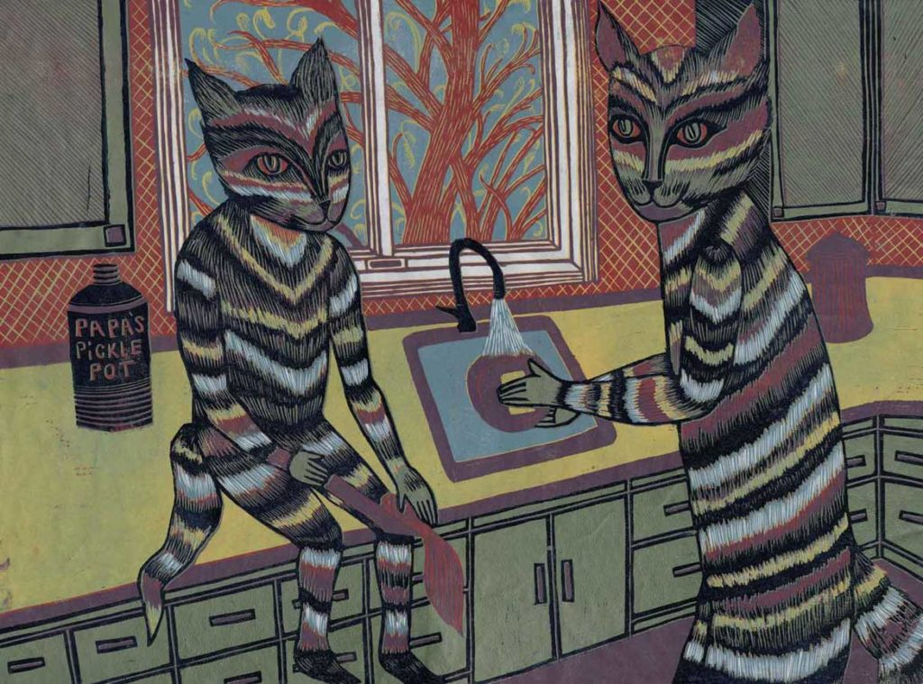 """Meredith Stern, """"Kitten Kitchen Cooperation"""" relief print from her """"Cooperation Cats"""" series."""