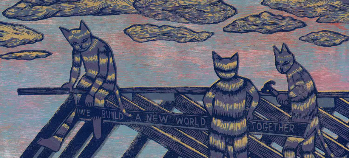 """Meredith Stern, """"Carpenter Cats"""" relief print from her """"Cooperation Cats"""" series."""