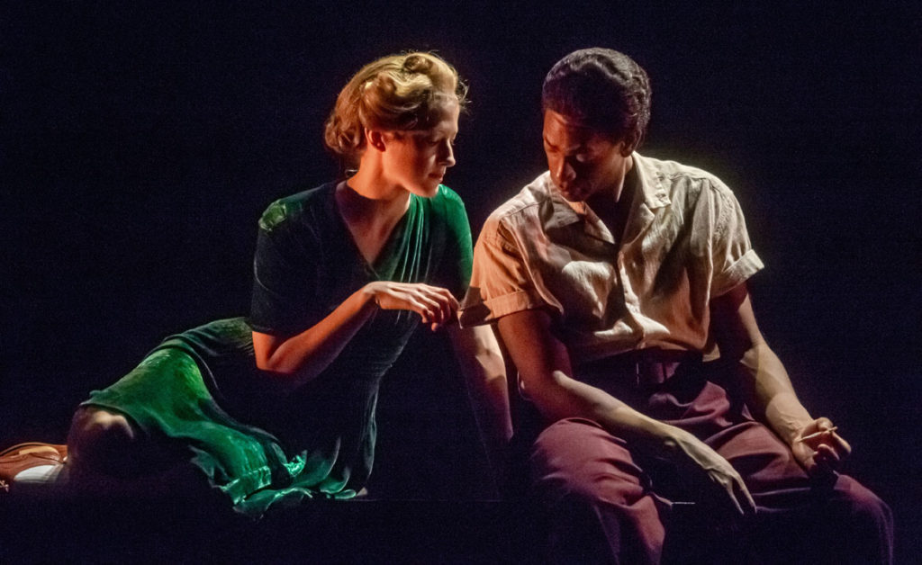 """Brontë England-Nelson (left) and Eric Berryman as Detroit Red in """"Detroit Red"""" at ArtsEmerson, 2020. (Randall Garnick Photography)"""