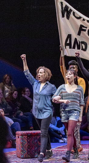 """Reenacting the 1970 Women's Strike for Equality in """"Gloria: A Life"""" at American Repertory Theater, Cambridge. (APrioriPhotography.com)"""