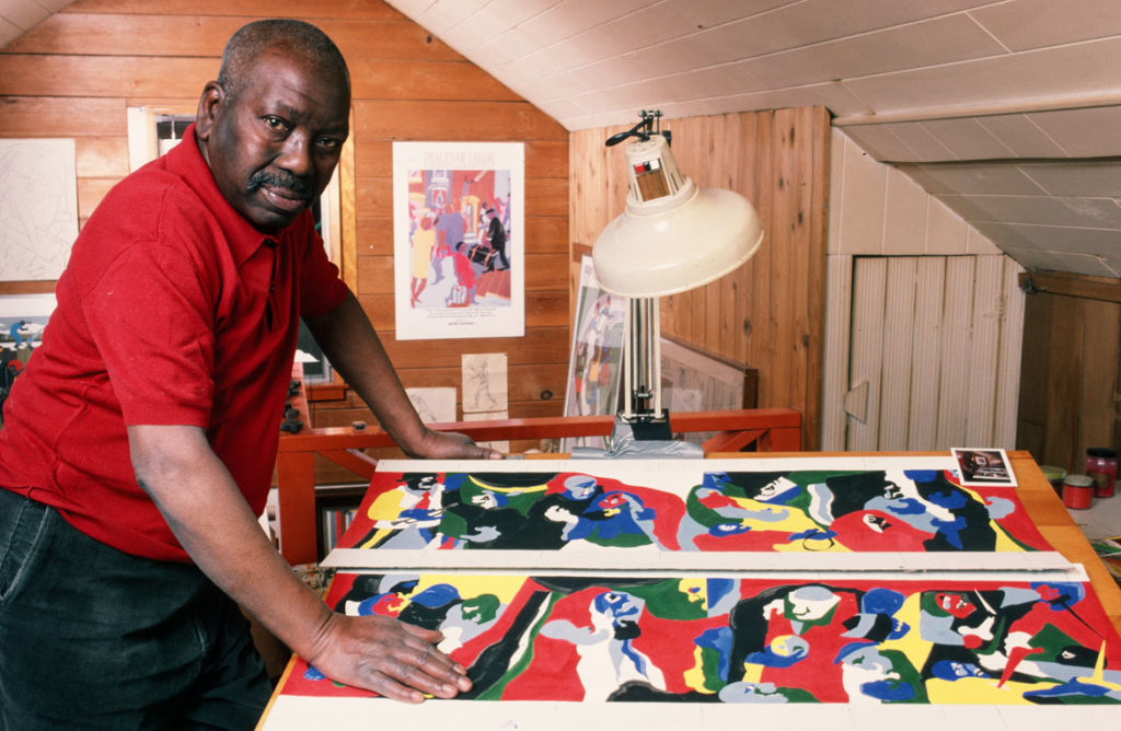 Artist Jacob Lawrence in his Seattle, Washington studio, 1986. (© George Rose/Hulton Archive/Getty Images)