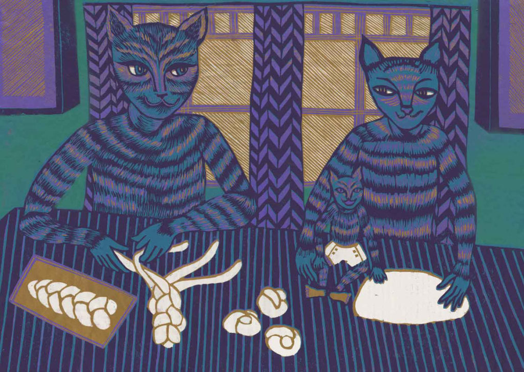 """Meredith Stern, """"Hallah!"""" relief print from her """"Cooperation Cats"""" series."""