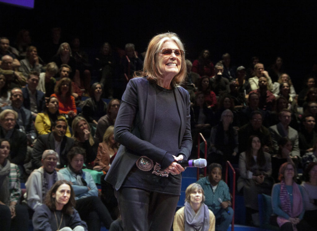 """Gloria Steinem takes the stage at curtain call on the opening night of """"Gloria: A Life"""" at American Repertory Theater, Cambridge, Jan. 30, 2020. (Photo: Liv Slaughter/Chris Rogers)"""