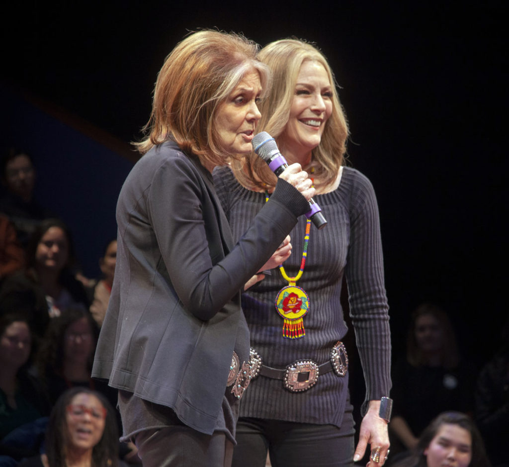"""Gloria Steinem (left) with Patricia Kalember, who plays Steinem, at """"Gloria: A Life"""" at American Repertory Theater, Cambridge, Jan. 30, 2020. (Photo: Liv Slaughter/Chris Rogers)"""