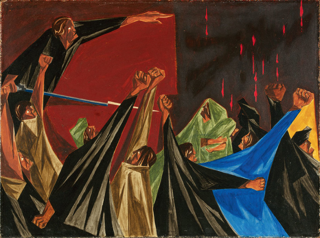 "Jacob Lawrence, ""​​. . . is life so dear or peace so sweet as to be purchased at the price of chains and slavery?—Patrick Henry, 1775​,"" Panel 1, 1955, from ​""Struggle: From the History of the American People,​ 1954–56,"" egg tempera on hardboard. Collection of Harvey and Harvey-Ann Ross. (© The Jacob and Gwendolyn Knight Lawrence Foundation, Seattle / Artists Rights Society (ARS), New York. Photography by Bob Packert/PEM)"