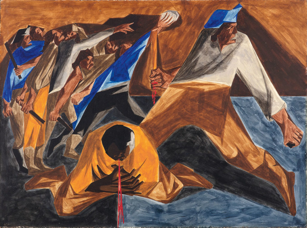 "Jacob Lawrence, ""Massacre in Boston,​"" Panel 2, 1955, from ​""Struggle: From the History of the American People,​ 1954–56,"" egg tempera on hardboard. Collection of Harvey and Harvey-Ann Ross. (© The Jacob and Gwendolyn Knight Lawrence Foundation, Seattle / Artists Rights Society (ARS), New York. Photography by Bob Packert/PEM)"
