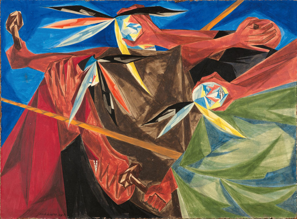 "Jacob Lawrence, ""Rally Mohawks! Bring out your axes, and tell King George we'll pay no taxes on his foreign tea . . . —a song of 1773​,"" Panel 3, 1955, from ​""Struggle: From the History of the American People,​ 1954–56,"" egg tempera on hardboard. Collection of Harvey and Harvey-Ann Ross. (© The Jacob and Gwendolyn Knight Lawrence Foundation, Seattle / Artists Rights Society (ARS), New York. Photography by Bob Packert/PEM)"