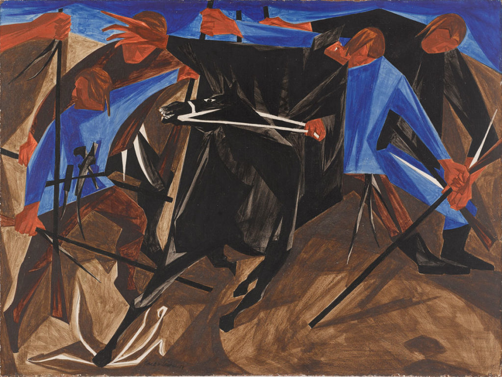 "Jacob Lawrence, ""​​I alarmed almost every house till I got to Lexington.—Paul Revere,​"" Panel 4, 1954, from ​""Struggle: From the History of the American People,​ 1954–56,"" egg tempera on hardboard. Private collection. (© The Jacob and Gwendolyn Knight Lawrence Foundation, Seattle / Artists Rights Society (ARS), New York)"