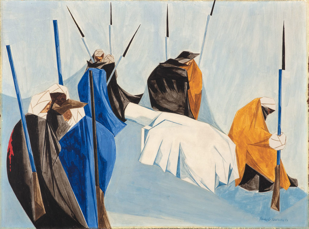 "Jacob Lawrence, ""The summer soldier and the sunshine patriot will, in this crisis, shrink from the service of his country. —Thomas Paine, 1776​,"" Panel 7, 1954, from"