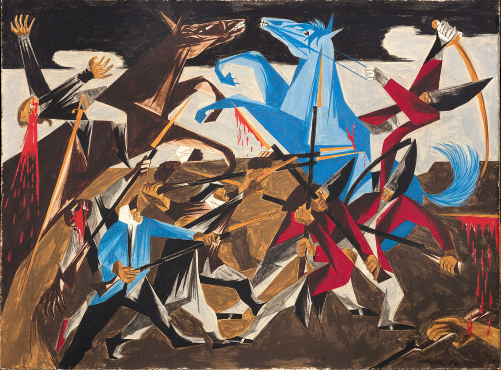"Jacob Lawrence, ""​​. . . ​again the rebels rushed furiously on our men.—a Hessian soldier​,"" Panel 8, 1954, from ​""Struggle: From the History of the American People,​ 1954–56,"" egg tempera on hardboard. Collection of Harvey and Harvey-Ann Ross. (© The Jacob and Gwendolyn Knight Lawrence Foundation, Seattle / Artists Rights Society (ARS), New York. Photography by Bob Packert/PEM)"