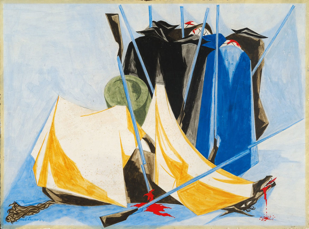 "Jacob Lawrence, ""Defeat,​"" Panel 9, 1954, from ​""Struggle: From the History of the American People,​ 1954–56,"" egg tempera on hardboard. Private collection. (© The Jacob and Gwendolyn Knight Lawrence Foundation, Seattle / Artists Rights Society (ARS), New York. Photography by Greg Staley)"