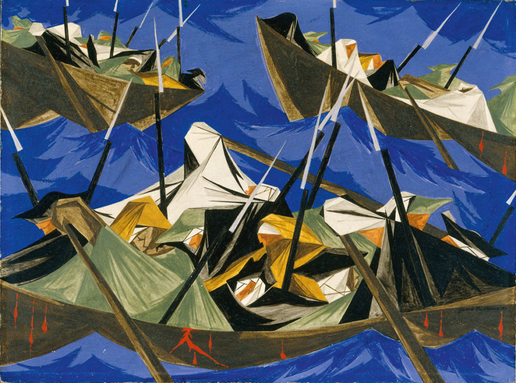 "Jacob Lawrence, ""We crossed the River at McKonkey's Ferry 9 miles above Trenton . . . the night was excessively severe . . . which the men bore without the least murmur . . . —Tench Tilghman, 27 December 1776​,"" Panel 10, 1954, from"
