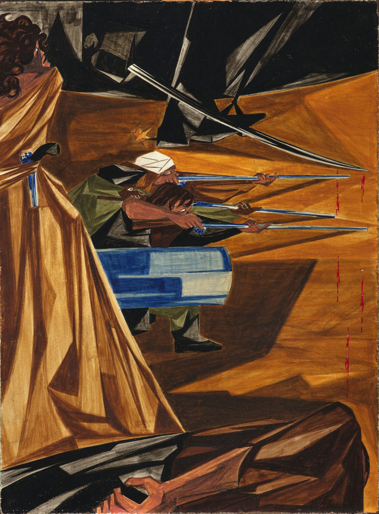 "Jacob Lawrence, ""And a Woman Mans a Cannon,​"" Panel 12, 1955, from ​""Struggle: From the History of the American People,​ 1954–56,"" egg tempera on hardboard. Collection of Harvey and Harvey-Ann Ross. (© The Jacob and Gwendolyn Knight Lawrence Foundation, Seattle / Artists Rights Society (ARS), New York. Photography by Bob Packert/PEM)"