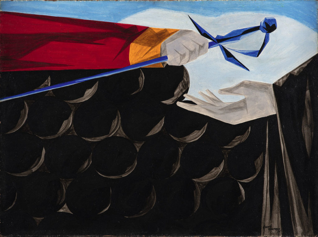 "Jacob Lawrence, ""Victory and Defeat​,"" Panel 13, 1955, from ​""Struggle: From the History of the American People,​ 1954–56,"" egg tempera on hardboard. Collection of Harvey and Harvey-Ann Ross. (© The Jacob and Gwendolyn Knight Lawrence Foundation, Seattle / Artists Rights Society (ARS), New York. Photography by Bob Packert/PEM)"