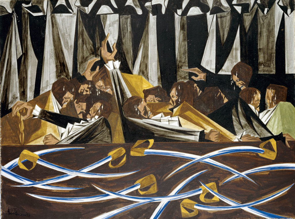 "Jacob Lawrence, ""​​We, the people of the United States, in order to form a more perfect Union, establish justice, insure domestic tranquility . . . —17 September 1787,​"" Panel 15, 1955, from ​""Struggle: From the History of the American People,​ 1954–56,"" egg tempera on hardboard. Harvard Art Museums/Fogg Museum. (© The Jacob and Gwendolyn Knight Lawrence Foundation, Seattle / Artists Rights Society (ARS), New York)"