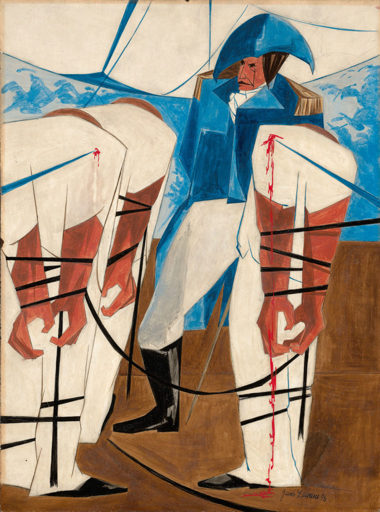 "Jacob Lawrence, ""Thousands of American citizens have been torn from their country and from everything dear to them: they have been dragged on board ships of war of a foreign nation. —Madison, 1 June 1812,​"" Panel 19, 1956, from"