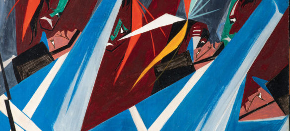 """Jacob Lawrence, """"Listen, Father! The Americans have not yet defeated us by land; neither are we sure they have done so by water—we therefore wish to remain here and fight our enemy . . . —Tecumseh to the British, Tippecanoe, 1811,"""" Panel 21, 1956, from """"Struggle: From the History of the American People, 1954–56,"""" egg tempera on hardboard. Collection of Harvey and Harvey-Ann Ross. (© The Jacob and Gwendolyn Knight Lawrence Foundation, Seattle / Artists Rights Society (ARS), New York. Photography by Bob Packert/PEM)"""