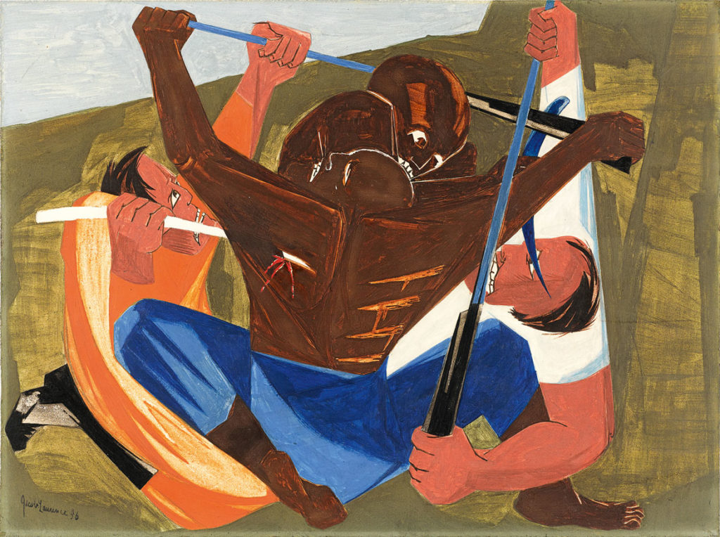"Jacob Lawrence, "". . . for freedom we want and will have, for we have served this cruel land long enuff . . . —a Georgia slave, 1810​,"" Panel 27, 1956, from"
