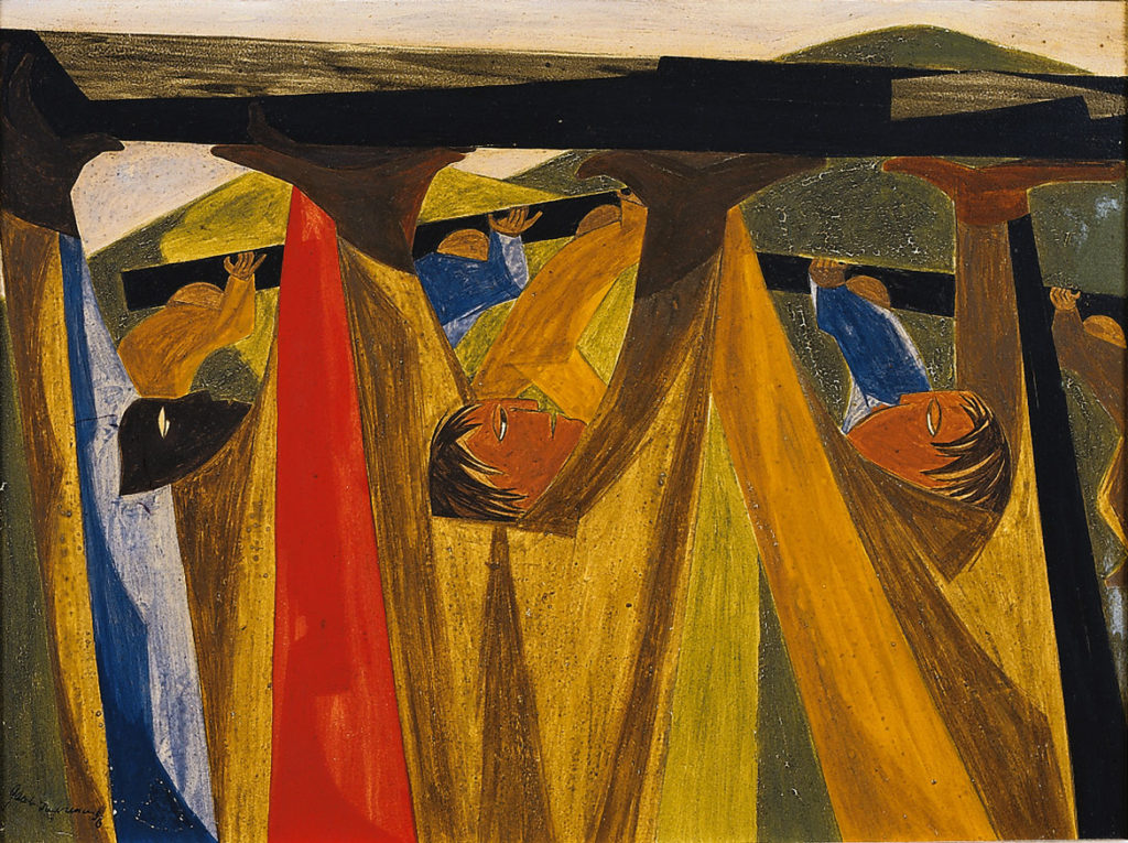"Jacob Lawrence, reproduction image of ""A cent and a half a mile, a mile and a half an hour. —slogan of the Erie Canal builders,​ Panel 29, 1956 from ​""Struggle: From the History of the American People,​ 1954–56,"" egg tempera on hardboard. Location unknown.( © The Jacob and Gwendolyn Lawrence Foundation, Seattle/Artists Rights Society (ARS), New York)"