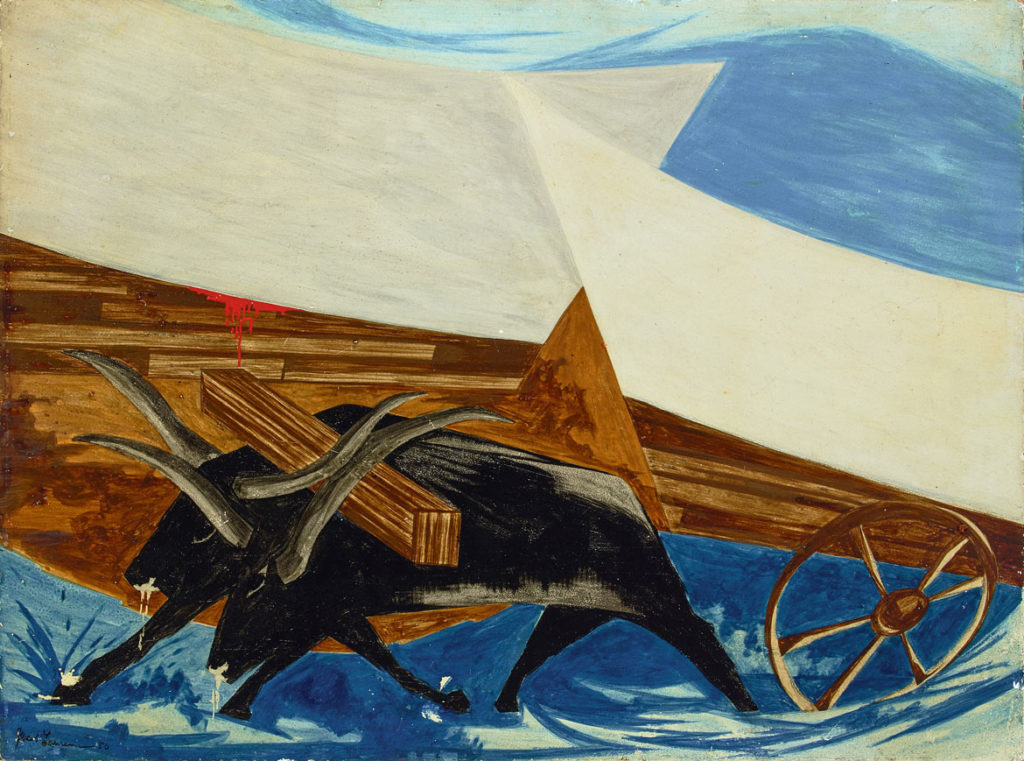 "Jacob Lawrence, ""​Old America seems to be breaking up and moving Westward . . . —an English immigrant, 1817,​"" 1956, Panel 30, from ​""Struggle: From the History of the American People,​ 1954–56,"" egg tempera on hardboard. Iris and B. Gerald Cantor Center for Visual Arts, Stanford University. (© The Jacob and Gwendolyn Knight Lawrence Foundation, Seattle / Artists Rights Society (ARS), New York)"
