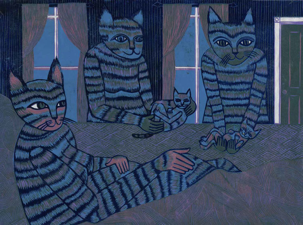 """Meredith Stern, """"Midwifery Kitties"""" relief print from her """"Cooperation Cats"""" series."""
