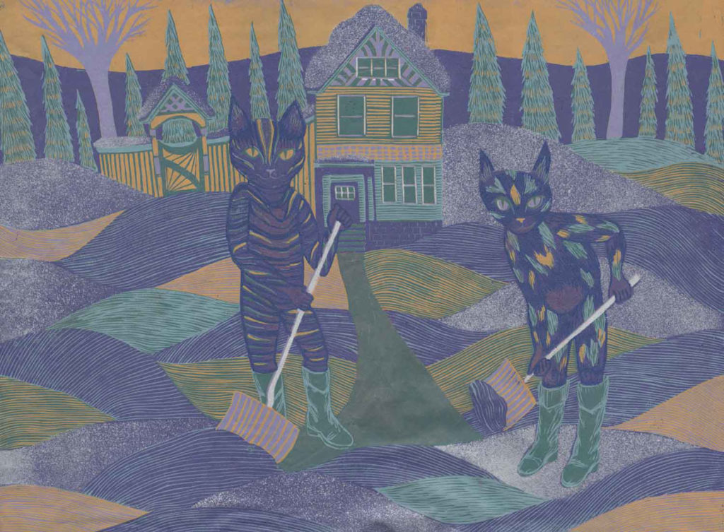 """Meredith Stern, """"Winter Wonderland"""" relief print from her """"Cooperation Cats"""" series."""
