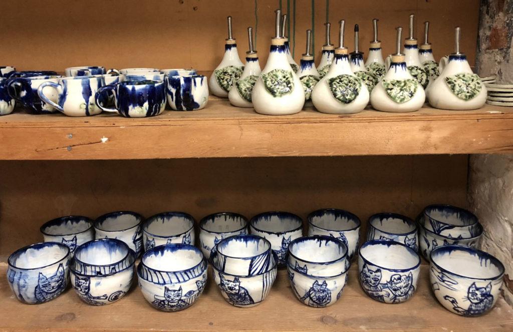 "Meredith Stern, ""Cooperation Cats"" ceramics."