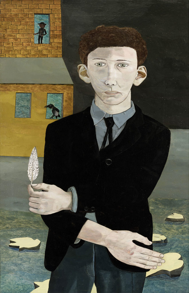 """Lucian Freud, """"Man with a Feather,"""" 1943, Oil on canvas. (Courtesy, Museum of Fine Arts, Boston)"""
