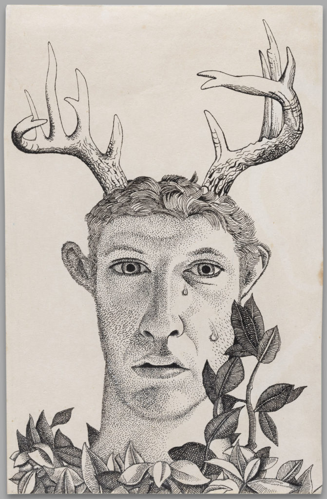 """Lucian Freud, """"Self-Portrait as Actaeon,"""" 1949, ink on paper. (Courtesy, Museum of Fine Arts, Boston)"""