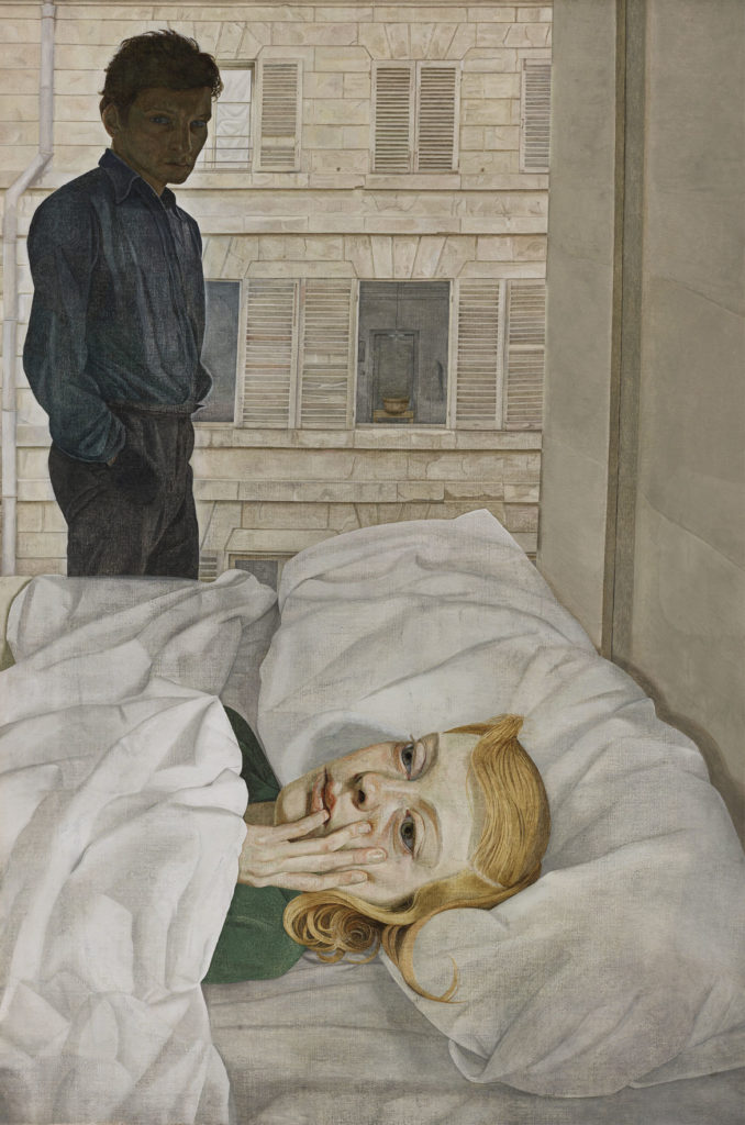 """Lucian Freud, """"Hotel Bedroom,"""" 1954, Oil on canvas. (Courtesy, Museum of Fine Arts, Boston)"""