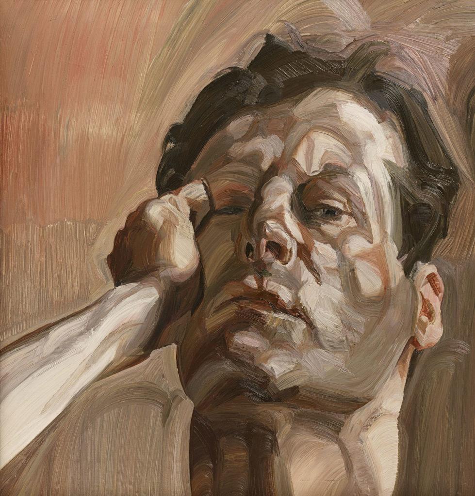 "Lucian Freud, ""Man's Head (Self‐Portrait I),"" 1963, Oil on canvas. (Courtesy, Museum of Fine Arts, Boston)"